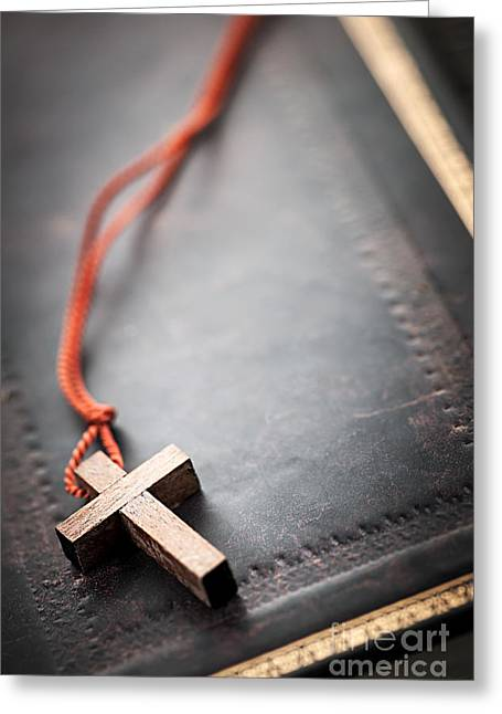 Psalms Greeting Cards - Christian Cross on Bible Greeting Card by Elena Elisseeva