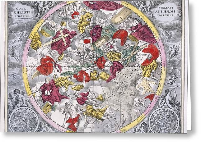 Macrocosmica Greeting Cards - Christianized constellations, 1708 Greeting Card by Science Photo Library