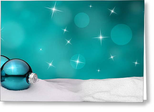 Wintry Greeting Cards - Christmas background - Christmas Ornament turquoise - Snow Greeting Card by Michael Kuelbel