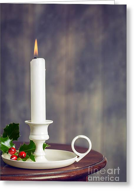 Country Cottage Greeting Cards - Christmas Candle Greeting Card by Amanda And Christopher Elwell