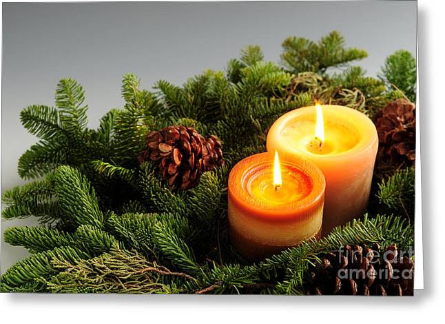 Glowing Greeting Cards - Christmas candles Greeting Card by Elena Elisseeva