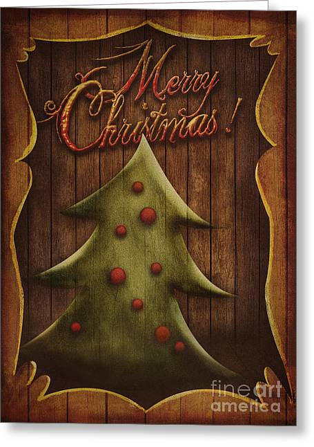 Rudolph Greeting Cards - Christmas card - Vintage Christmas tree in wooden frame Greeting Card by Mythja  Photography