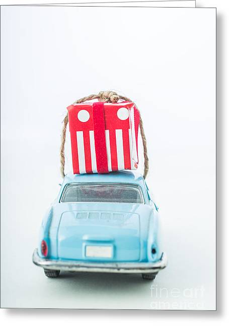 Blue Car. Greeting Cards - Christmas Card Greeting Card by Edward Fielding