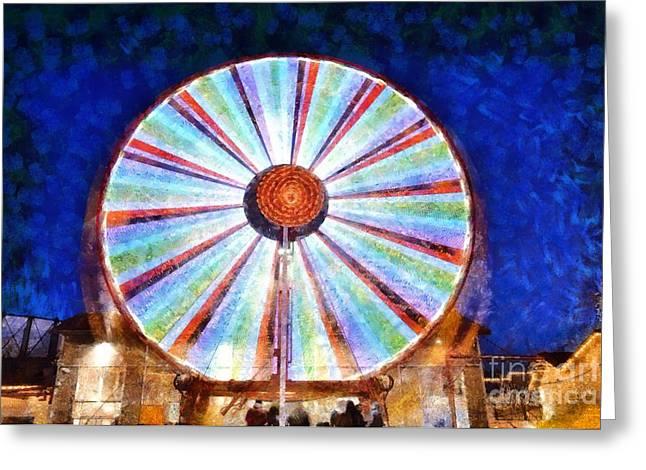 Rotation Paintings Greeting Cards - Christmas Ferris Wheel Greeting Card by George Atsametakis