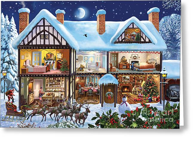 Christmas Eve Greeting Cards - Christmas House Greeting Card by Steve Crisp
