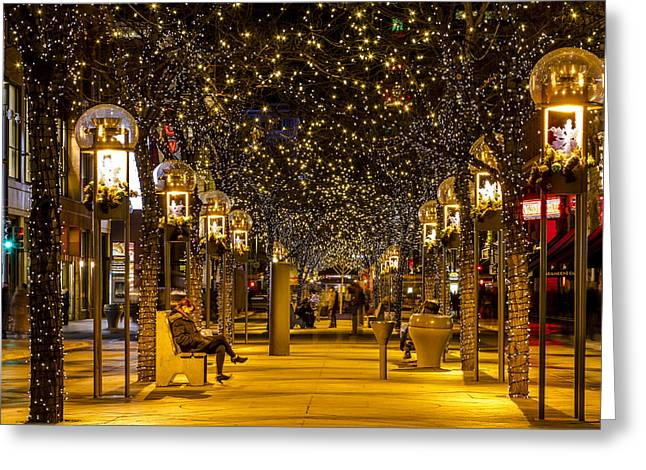 Christmas In Denver Colorado Greeting Card by Teri Virbickis