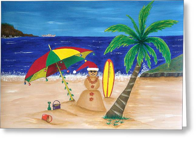 Recently Sold -  - Christmas Art Greeting Cards - Christmas In Kona Greeting Card by Pamela Allegretto