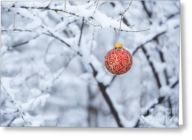 Filigree Greeting Cards - Christmas Ornament in the Snow Greeting Card by Diane Diederich