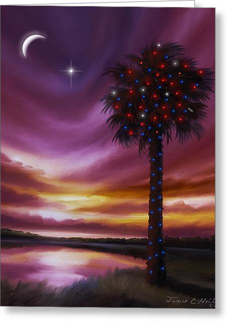Palmetto Trees Greeting Cards - Christmas Palmetto Tree Greeting Card by James Christopher Hill