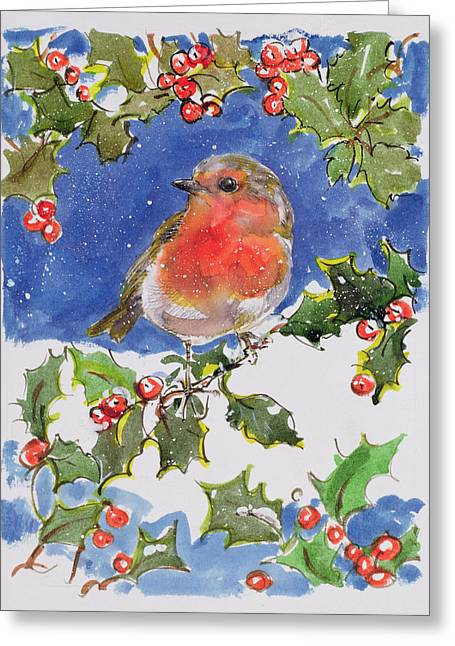 Holiday Season Greeting Cards - Christmas Robin Greeting Card by Diane Matthes