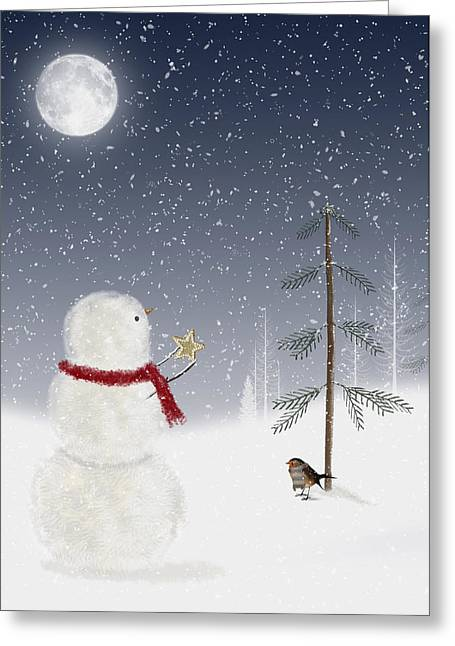 Snowy Evening Greeting Cards - Christmas Snowman Greeting Card by Maria Dryfhout