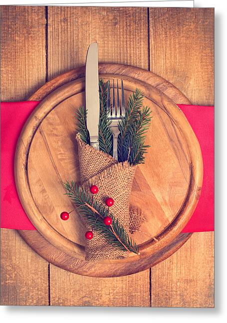 Fir Trees Photographs Greeting Cards - Christmas Table Setting Greeting Card by Amanda And Christopher Elwell