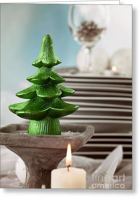 Banquet Greeting Cards - Christmas table setting Greeting Card by Mythja  Photography