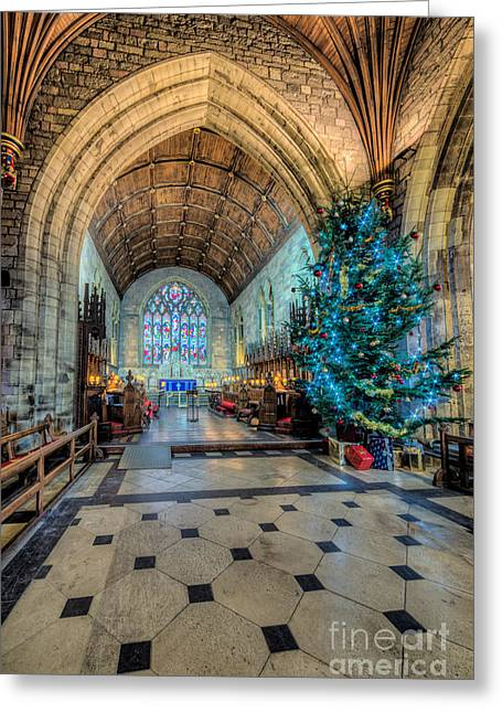 Church Music Greeting Cards - Christmas Tree Greeting Card by Adrian Evans