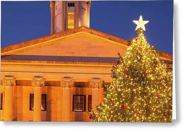 Christmas Tree At The Tennessee Capitol Greeting Card by Brian Jannsen