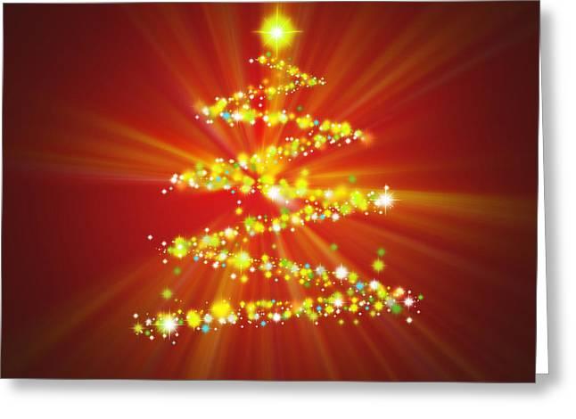 Backdrop Greeting Cards - Christmas Tree Greeting Card by Atiketta Sangasaeng