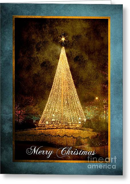 Salt Lake City Temple Greeting Cards - Christmas Tree in the City Greeting Card by Cindy Singleton