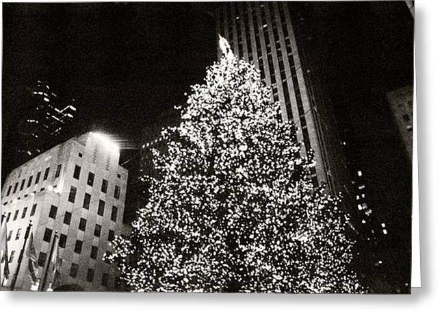 Commercial Building Greeting Cards - Christmas Tree Lit Up At Night Greeting Card by Panoramic Images