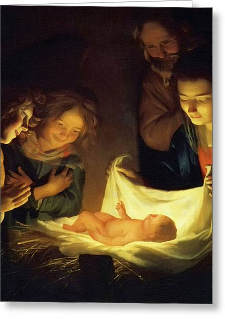 Catholic Art Greeting Cards - Christmas Greeting Card by Victor Gladkiy