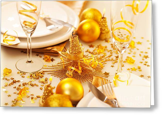 Banquet Greeting Cards - Christmastime table decoration Greeting Card by Anna Omelchenko