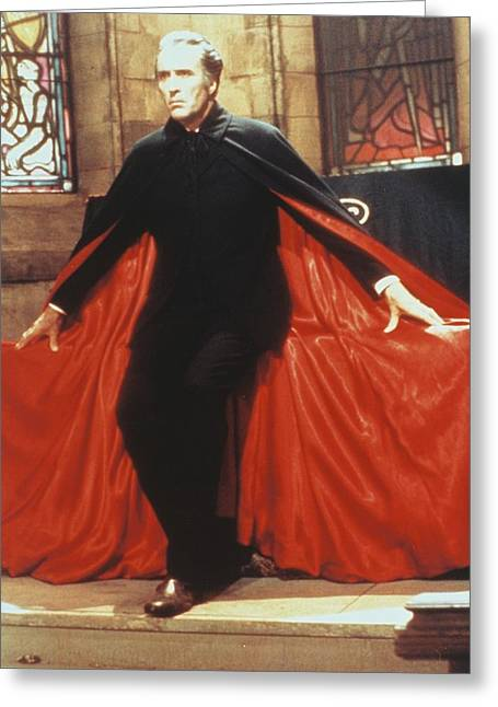 Dracula Greeting Cards - Christopher Lee in Dracula A.D. 1972  Greeting Card by Silver Screen
