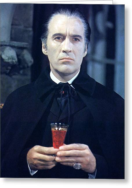 Taste Greeting Cards - Christopher Lee in Taste the Blood of Dracula  Greeting Card by Silver Screen