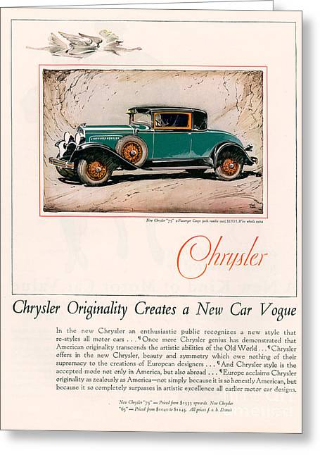 American Automobiles Greeting Cards - Chrysler 1928 1920s Usa Cc Cars Greeting Card by The Advertising Archives