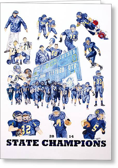 Championship Drawings Greeting Cards - CHS Football Greeting Card by Brandon Undeberg