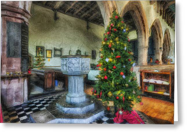 Catholic Angel Greeting Cards - Church at Christmas Greeting Card by Ian Mitchell