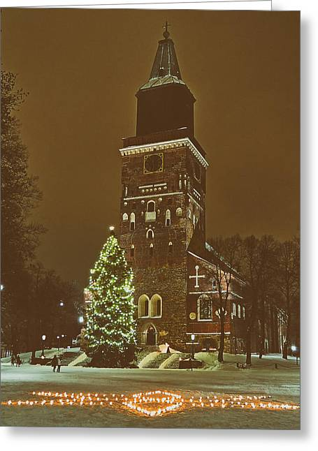 Snowy Night Night Greeting Cards - Church at Christmas in Turku Finland Greeting Card by Mountain Dreams