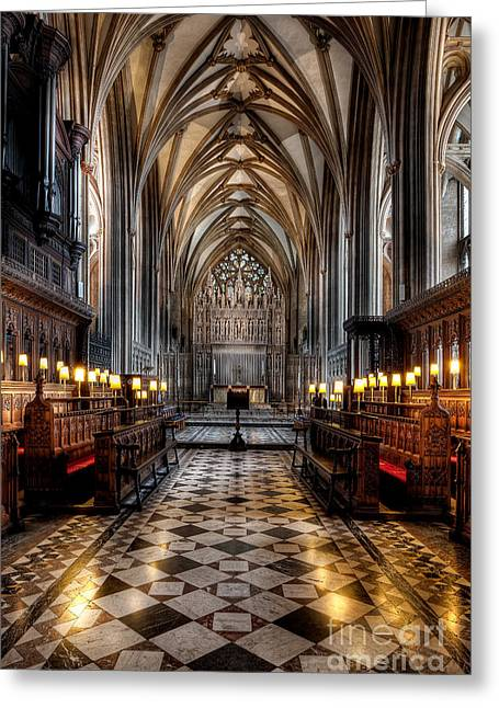 Arch Greeting Cards - Church Interior Greeting Card by Adrian Evans