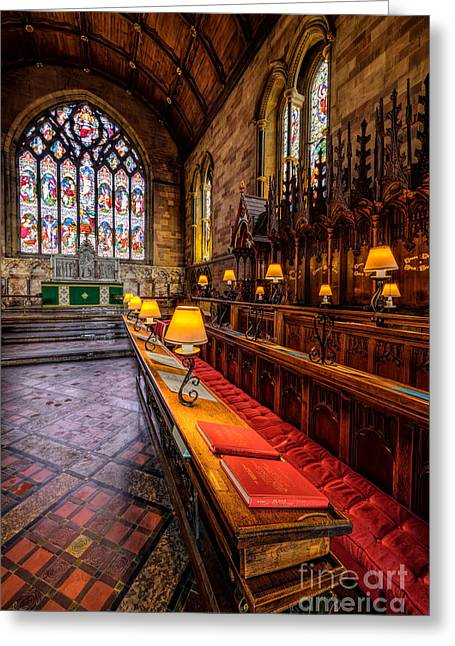 Window Panes Greeting Cards - Church Lamps Greeting Card by Adrian Evans