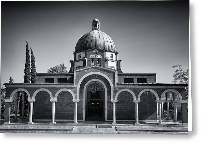 Christ Sermon Greeting Cards - Church of the Beatitudes  Greeting Card by Stephen Stookey