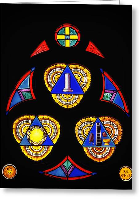 Art Glass Glass Art Greeting Cards - Church Stained Glass Greeting Card by Mountain Dreams