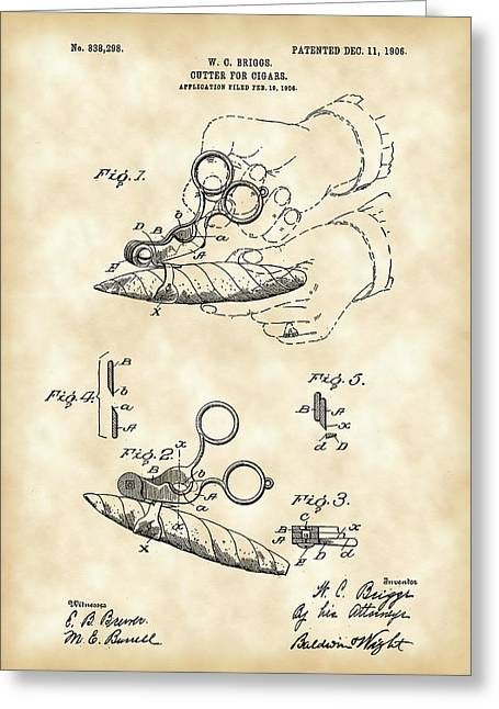 Cigar Digital Greeting Cards - Cigar Cutter Patent 1906 - Vintage Greeting Card by Stephen Younts