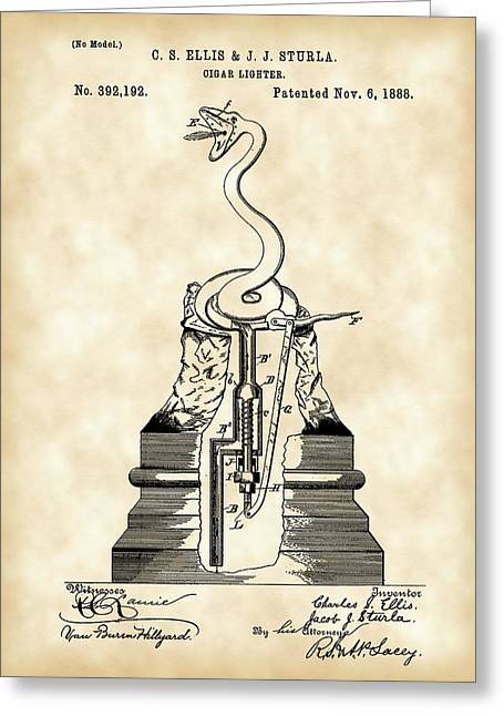 Cigar Lighter Patent 1888 - Vintage Greeting Card by Stephen Younts