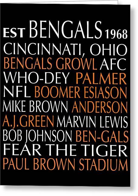 Subway Art Greeting Cards - Cincinnati Bengals Greeting Card by Jaime Friedman