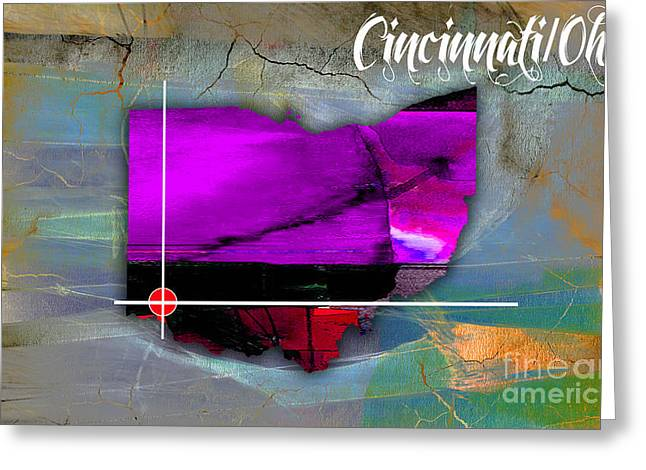 Ohio State Greeting Cards - Cincinnati Ohio Map Watercolor Greeting Card by Marvin Blaine