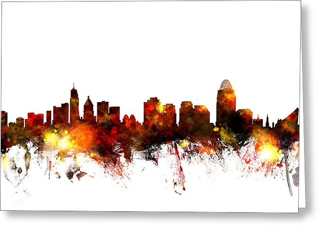 Skyline Greeting Cards - Cincinnati Ohio Skyline Greeting Card by Michael Tompsett