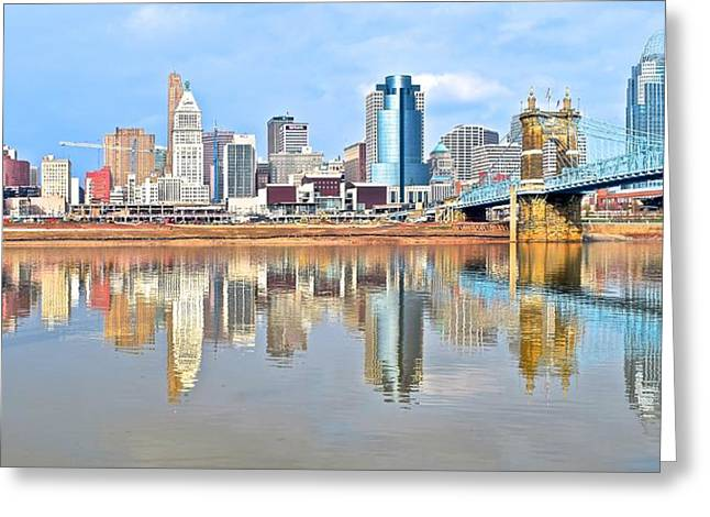 Greater Cincinnati Greeting Cards - Cincinnati Reflects Greeting Card by Frozen in Time Fine Art Photography