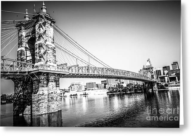Riverfront Greeting Cards - Cincinnati Roebling Bridge Black and White Picture Greeting Card by Paul Velgos