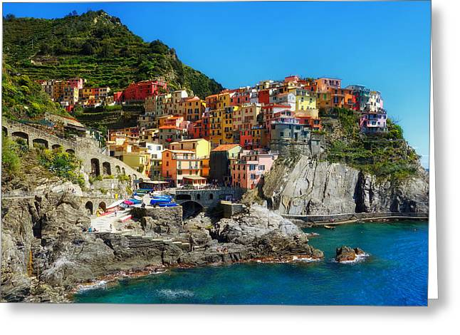 Ocean. Reflection Greeting Cards - Cinque Terre Seaside Greeting Card by Mountain Dreams