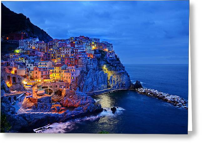 Italian Sunset Photographs Greeting Cards - Cinqueterre Sunset - Italy Greeting Card by Mountain Dreams
