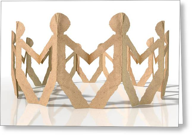 Cardboard Digital Greeting Cards - Circle Of Cutout Paper Cardboard Men Greeting Card by Allan Swart
