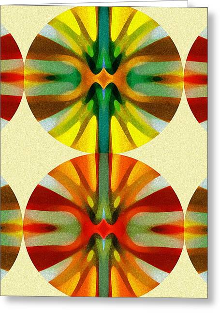 Red Abstract Greeting Cards - Circle Pattern 2 Greeting Card by Amy Vangsgard
