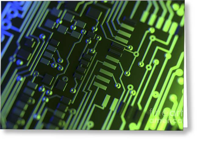 Processor Greeting Cards - Circuit Board Greeting Card by Science Picture Co