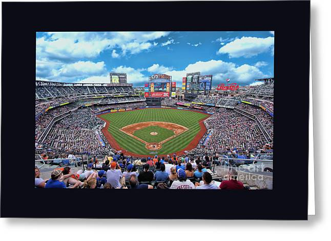 Citifield Greeting Cards - Citi Field 2 Greeting Card by Allen Beatty