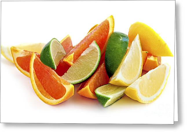 Natural White Photographs Greeting Cards - Citrus wedges Greeting Card by Elena Elisseeva