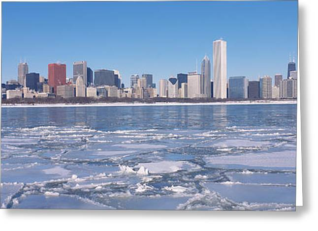 Temperature Greeting Cards - City At The Waterfront, Lake Michigan Greeting Card by Panoramic Images