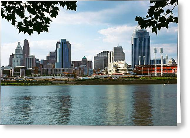 River Photography Greeting Cards - City At The Waterfront, Ohio River Greeting Card by Panoramic Images